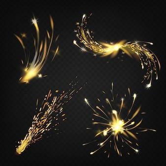 Realistische verzameling vonken van lassen of snijden van metaal, vuurwerk. helder schijnende komeet