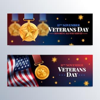 Realistische veteranendag horizontale banners set