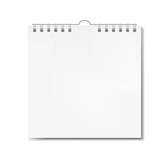 Realistische vierkante kalender op spiraal