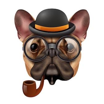 Realistische vintage hipster bulldog