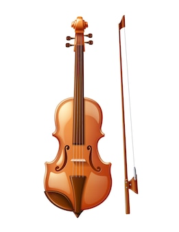 Realistische viool met strijkstok