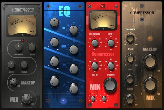 Realistische virtuele equalizers en compressoren voor een opnamestudio.