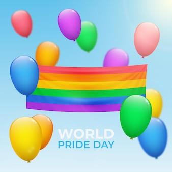 Realistische vlag van de pride-dag Gratis Vector
