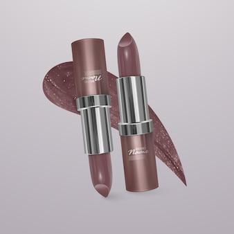 Realistische vleeskleurige lippenstift. 3d-afbeelding, trendy cosmetisch ontwerp