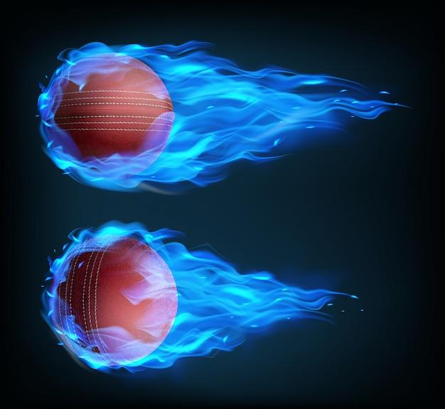 Realistische vliegende cricket ballen in blauw vuur