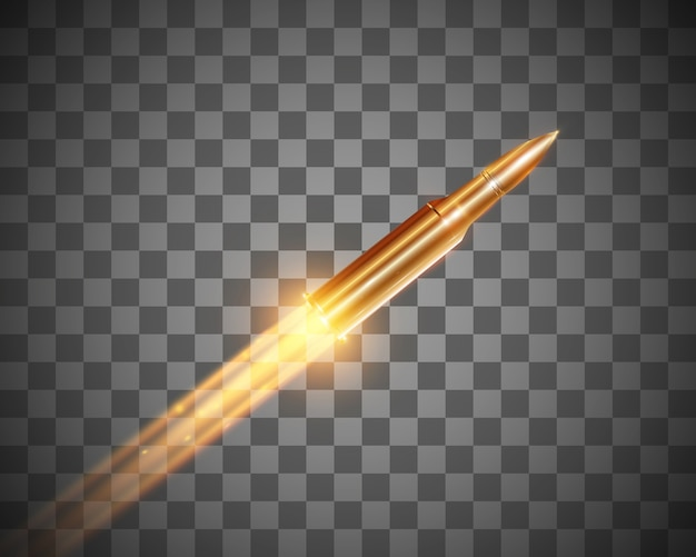 Realistische vliegende kogel met een vlammenwerper schot geïsoleerd op transparante achtergrond, reeks opsommingstekens in beweging