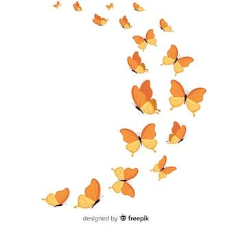 Realistische vlinders vliegen illustratie