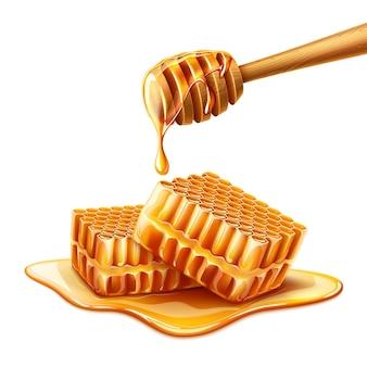 Realistische vloeibare honing druipt van houten lepel op honingraat