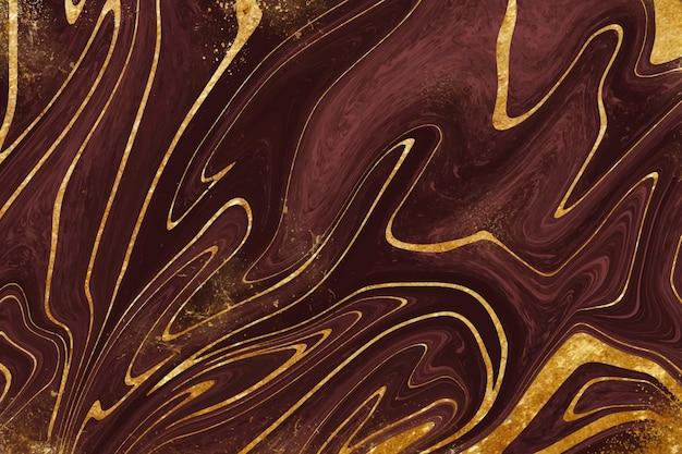 Realistische vloeibare marmeren achtergrond met goud