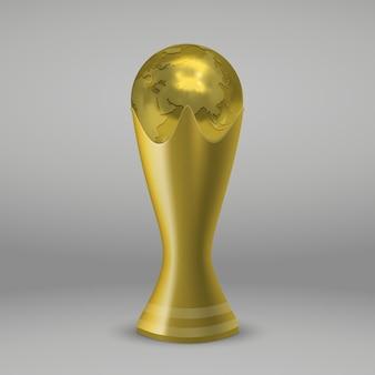 Realistische voetbal gouden beker geïsoleerd