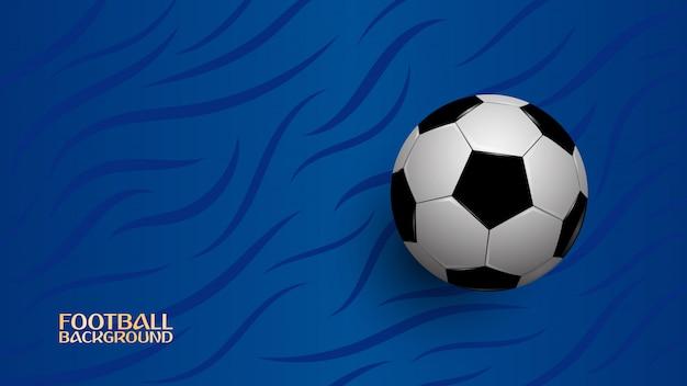 Realistische voetbal op blauwe achtergrond