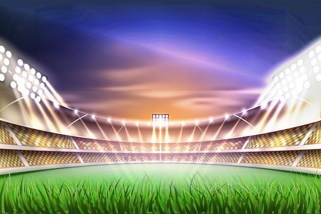 Realistische voetbal voetbalstadion achtergrond