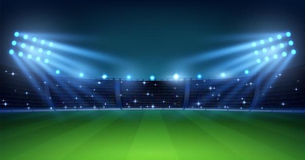 Realistische voetbalarena. voetbalveld 's nachts met verlichte felle stadionlichten, groen gras en tribunes. vector afbeelding achtergrond voor voetbalkampioenschap of match team