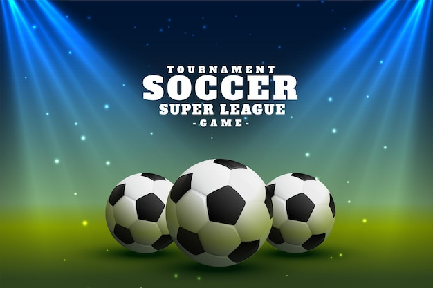 Realistische voetbalvoetbalcompetitie met spotfocuslichten