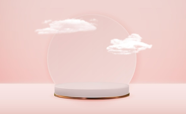 Realistische voetstuk roze bewolkte achtergrond.
