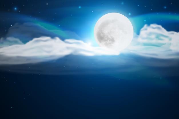 Realistische volle maan hemelachtergrond