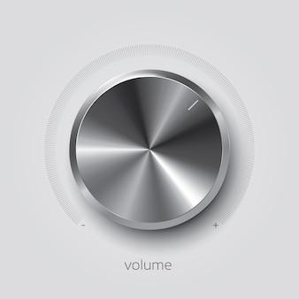 Realistische volume chroom knop, vectorillustratie