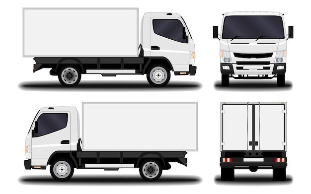 Realistische vrachtwagen. vooraanzicht; zijaanzicht; achteraanzicht.