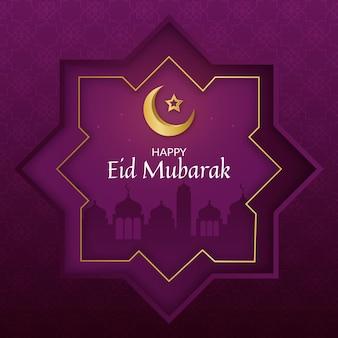 Realistische vrolijke eid mubarak in paarse tinten