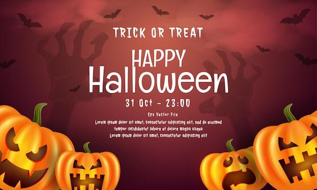 Realistische vrolijke halloween-banner