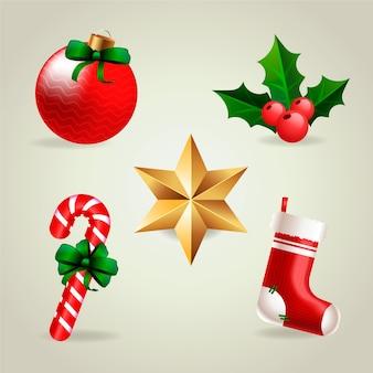 Realistische vrolijke kerst element collectie