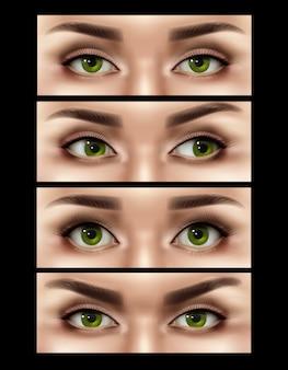 Realistische vrouwelijke ogen expressies instellen