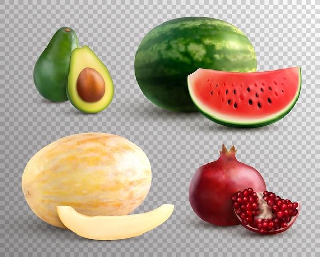 Realistische vruchten set met rijpe meloen, watermeloen, avocado en granaatappel geïsoleerd op transparant
