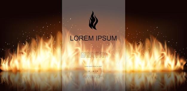 Realistische vuur en vlammenachtergrond met hete heldere vlammende vurige brandende muur en vonkenillustratie