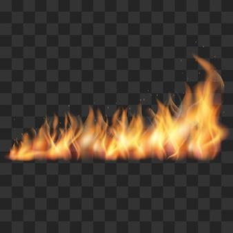 Realistische vuur trail vectorillustratie