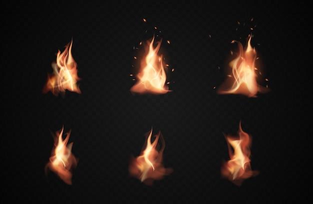 Realistische vuurvlammen, brandende pictogrammen op transparante zwarte achtergrond