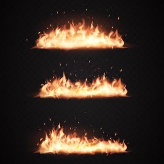 Realistische vuurvlammen, brandende pictogrammen