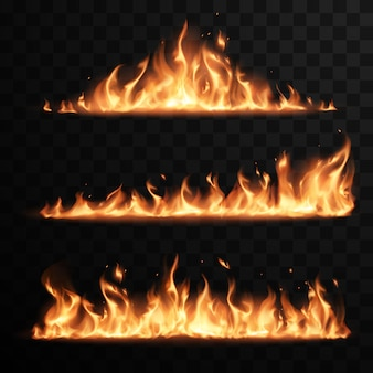 Realistische vuurvlammen ingesteld