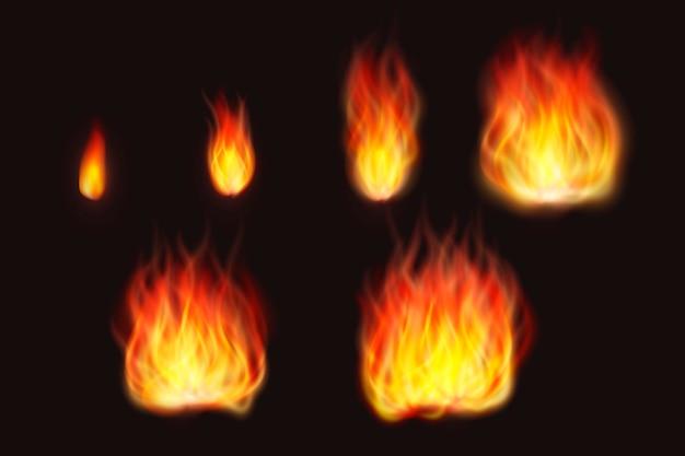 Realistische vuurvlammen op zwarte achtergrond
