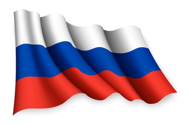 Realistische wapperende vlag van rusland