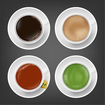 Realistische warme drank americano, koffie latte, zwarte thee, matcha groene thee in witte kop