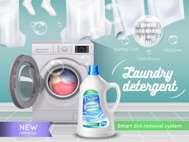 Realistische wasmiddel advertentie
