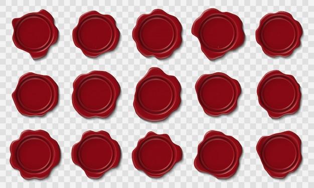 Realistische wasstempels. envelop rode lakzegel, poststempel cachet en retro veiligheid postcertificaat postkantoor pictogrammen instellen