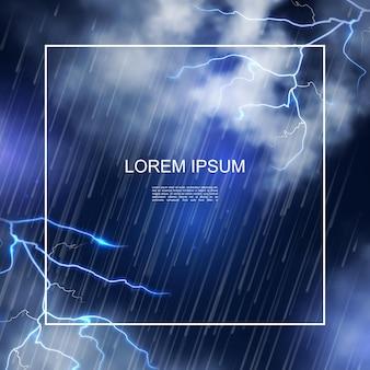 Realistische water storm poster met frame op nacht hemel achtergrond afbeelding