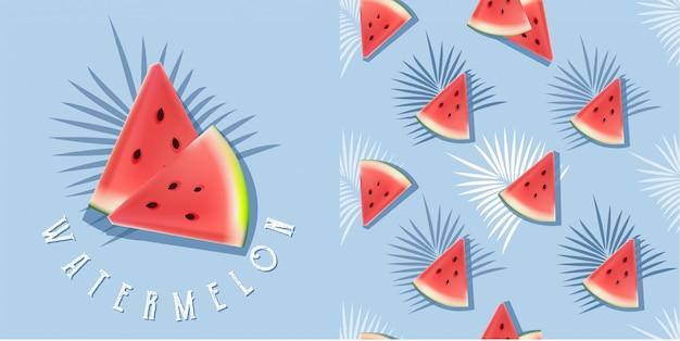 Realistische watermeloenillustratie en naadloos patroon