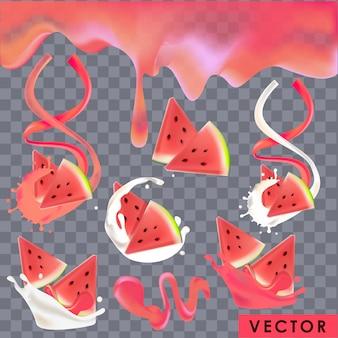 Realistische watermeloenyoghurt en sapspatten