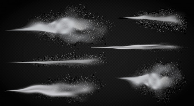 Realistische waternevel, witte gedetailleerde rooknevel van verstuiver op de donkere alpha transperant achtergrond