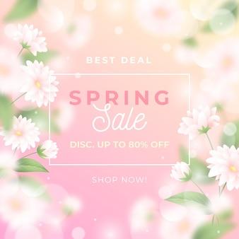 Realistische wazig lente verkoop illustratie met bloei