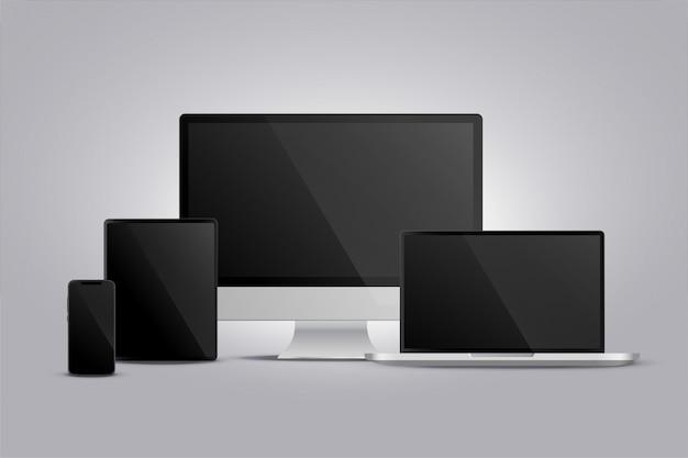Realistische weergave van monitor-laptop-tablet en smarphone