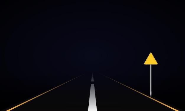 Realistische weg 's nachts met verkeersbord. vector illustratie.