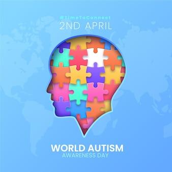 Realistische wereld autisme dag bewustzijn illustratie met puzzelstukjes