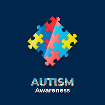 Realistische wereld autisme dag bewustzijn illustratie