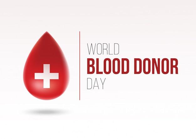 Realistische wereld bloed donor dag logo concept