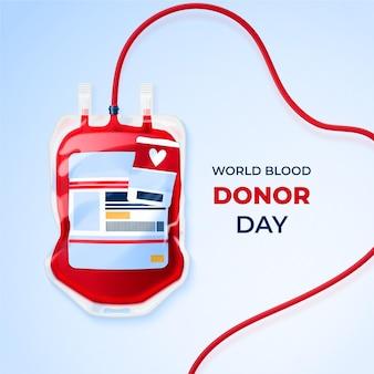 Realistische wereld bloeddonordag illustratie