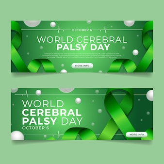 Realistische wereld cerebrale parese dag horizontale banners set