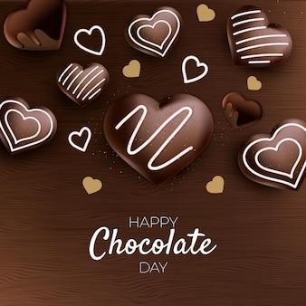 Realistische wereld chocolade dag illustratie